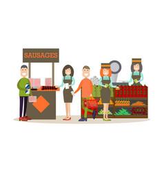 People buying groceries in vector