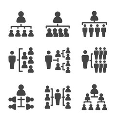 people organization icon set vector image