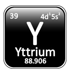 Periodic table element yttrium icon vector