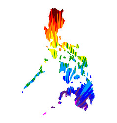 Philippines - map is designed rainbow abstract vector