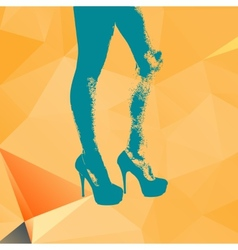 Print legs of fashion girl on contemporary orange vector