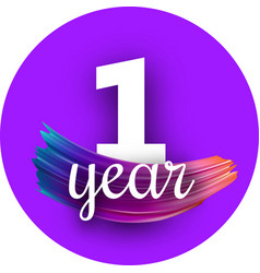 purple one year greeting card with colorful brush vector image