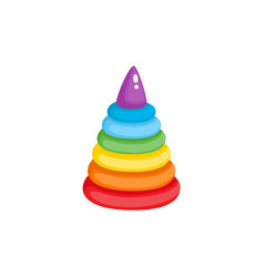 Pyramid toy flat isolated vector