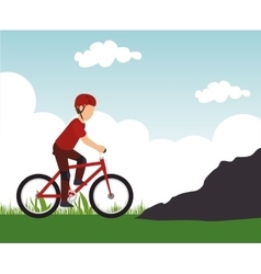 Racing cyclist rural landscape background vector