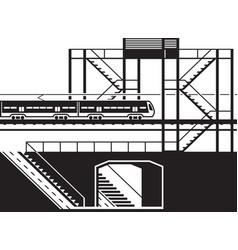 railway pedestrian underpass and overpass vector image