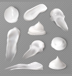 Realistic cosmetic cream smears white creamy drop vector