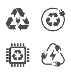 Recycle sign e-waste garbage icons on white vector