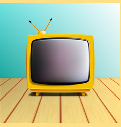 Retro old tv set on wooden table vector
