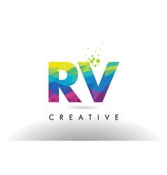 Rv r v colorful letter origami triangles design vector