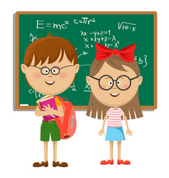School kids with glasses standing near blackboard vector