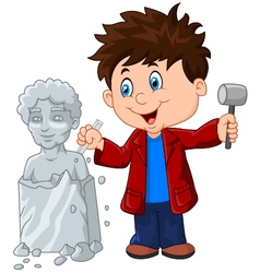 Sculptor boy holding chisel and hammer vector