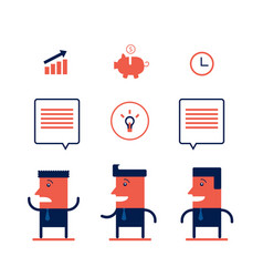 set of businessman and business icons modern flat vector image