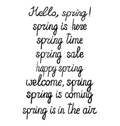 Set of hand-written spring phrases vector