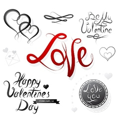 Set of St Valentines designs vector image