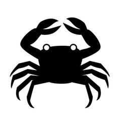 Silhouette monochrome with crab above vector