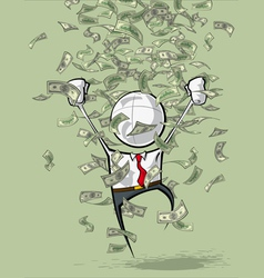 Simple Business People Money Rain vector image