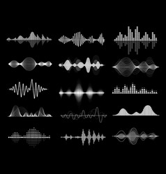 sound wave icon set equalize audio and music vector image