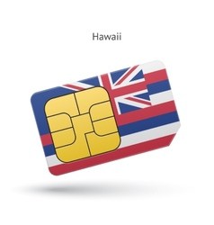State of hawaii phone sim card with flag vector