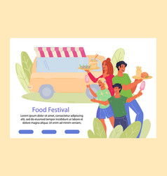 street food festival banner with truck and people vector image