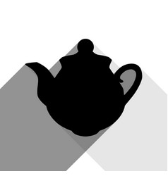 Tea maker sign black icon with two flat vector