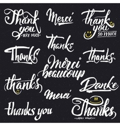 Thank you merci beaucoup danke- typographic vector