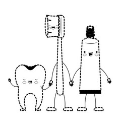 tooth and toothbrush and toothpaste in cartoon vector image