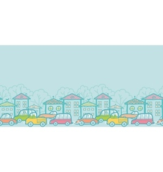 Town street horizontal seamless pattern background vector image
