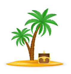 treasure chest on sand under palm tree stock vector image vector image