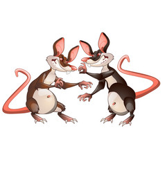 two evil animated mouse fighting each other vector image
