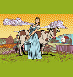 village woman with a bucket cow milk farm vector image