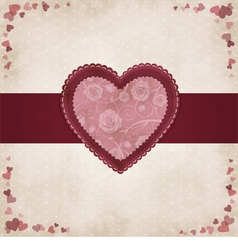 Vintage heart for Valentines day vector image
