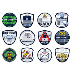 web data security internet cloud storage icons vector image