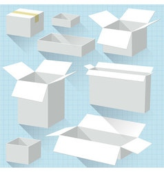 White cardboard boxes vector image