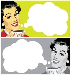 Woman With Cup of Coffee and Speech Bubble vector