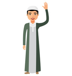 Young arab kuweit business man waving her hand vector