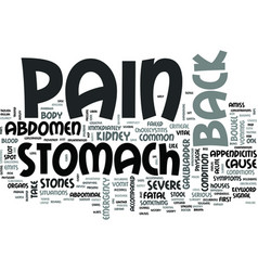 Z back and stomach pain text word cloud concept vector