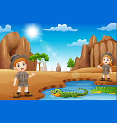 zookeepers with crocodiles in the desert vector image
