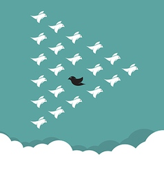 Flock of birds flying in the sky vector image vector image