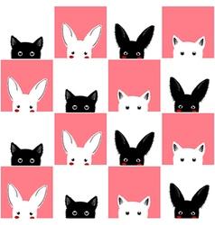 Black white pink cat rabbit chess board vector