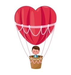 boy flying heart airballoon valentine day vector image