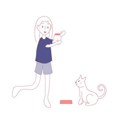 cat waiting for girl feeding food in meal time vector image