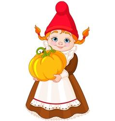 Garden Gnome with pumpkin vector image vector image