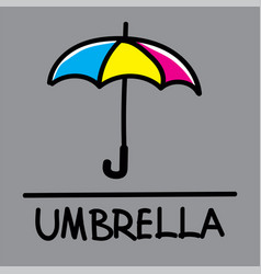 umbrella hand-drawn style vector image