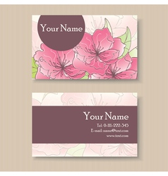 business card with pink flowers vector image