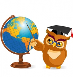 cartoon wise owl with world globe vector image vector image