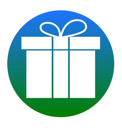 gift box sign white icon in bluish circle vector image vector image