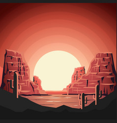 landscape of desert with mountains in flat style vector image