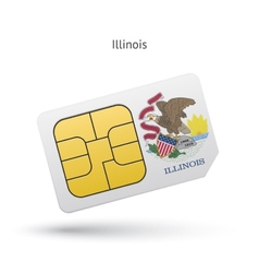 State of Illinois phone sim card with flag vector image vector image