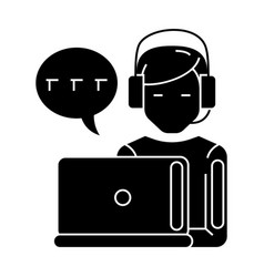 support - customer service - man with computer and vector image