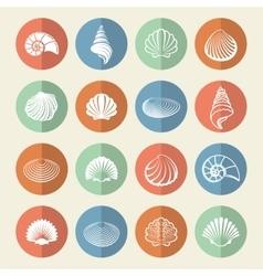 White sea shells icons set vector image vector image
